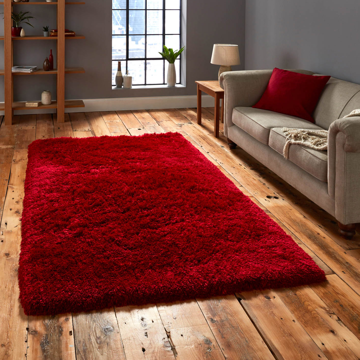 Yellow Shaggy Rug Uk: Polar PL95 Shaggy Rugs In Red