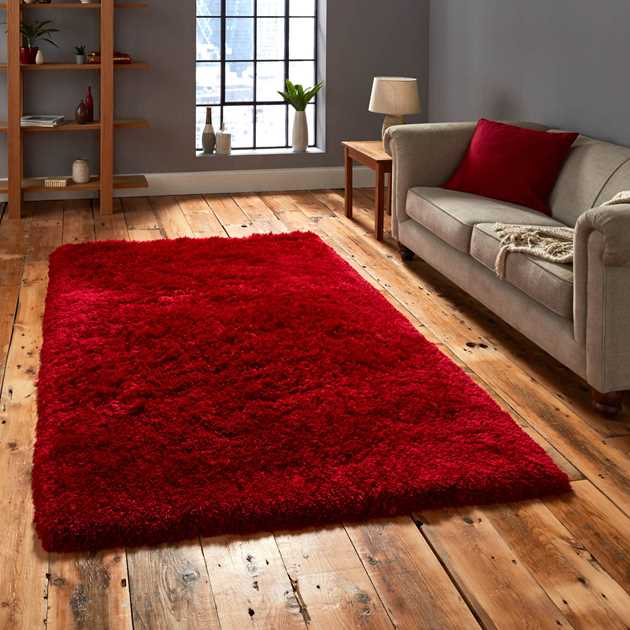 Polar PL95 Shaggy Rugs in Red