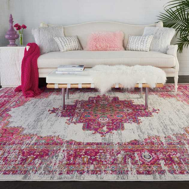 Passion Rugs PSN03 in Ivory and Fuchsia