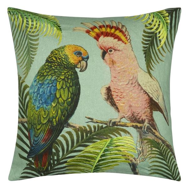 Parrot And Palm Cushion - Azure