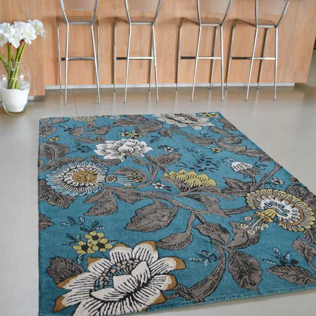 Passion Flower Rugs in Teal 37117 by Wedgwood