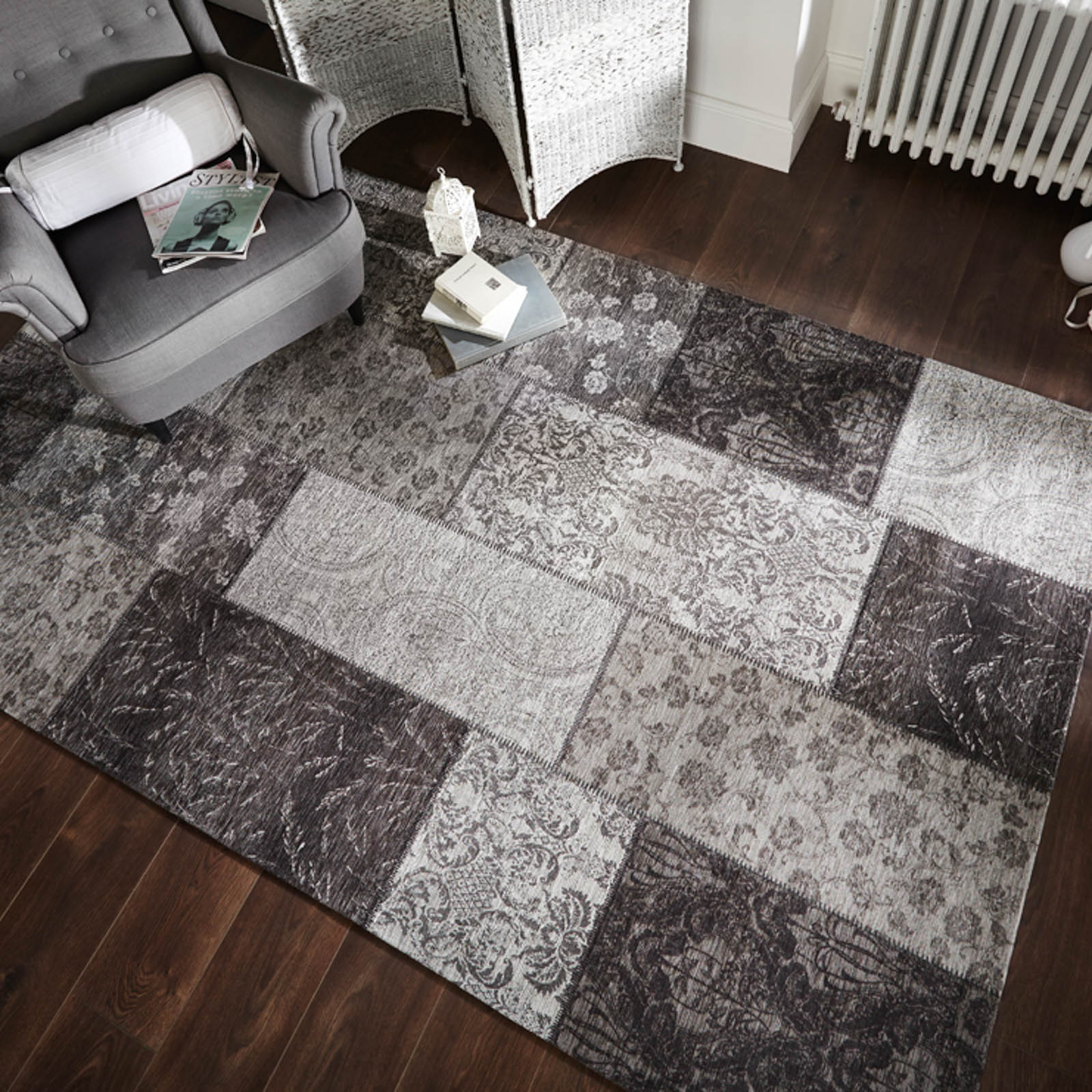 Manhattan Patchwork Chenille Rugs In Black And Grey Free