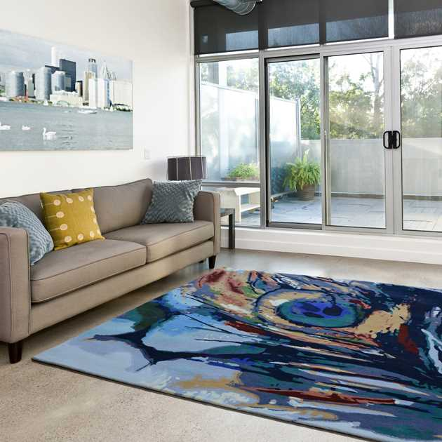 Peacock Painting Multi-Coloured Rugs
