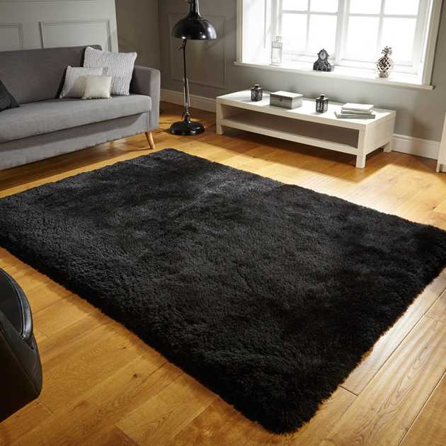 Pearl Shaggy Rugs in Black
