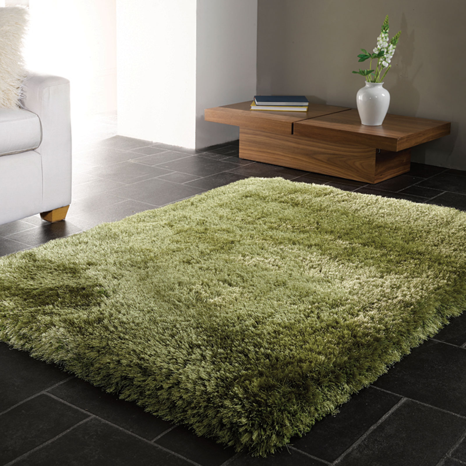 Pearl Shaggy Rugs in Green