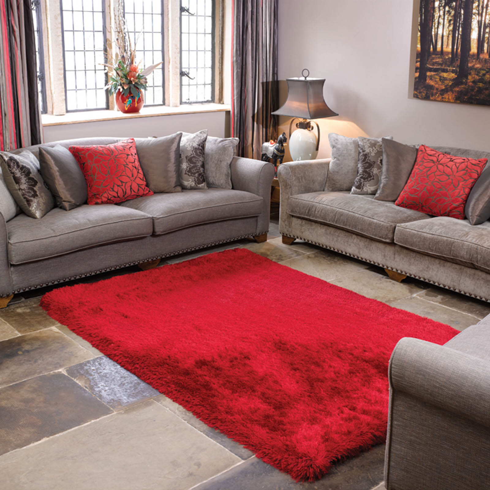 Pearl Shaggy Rugs in Red