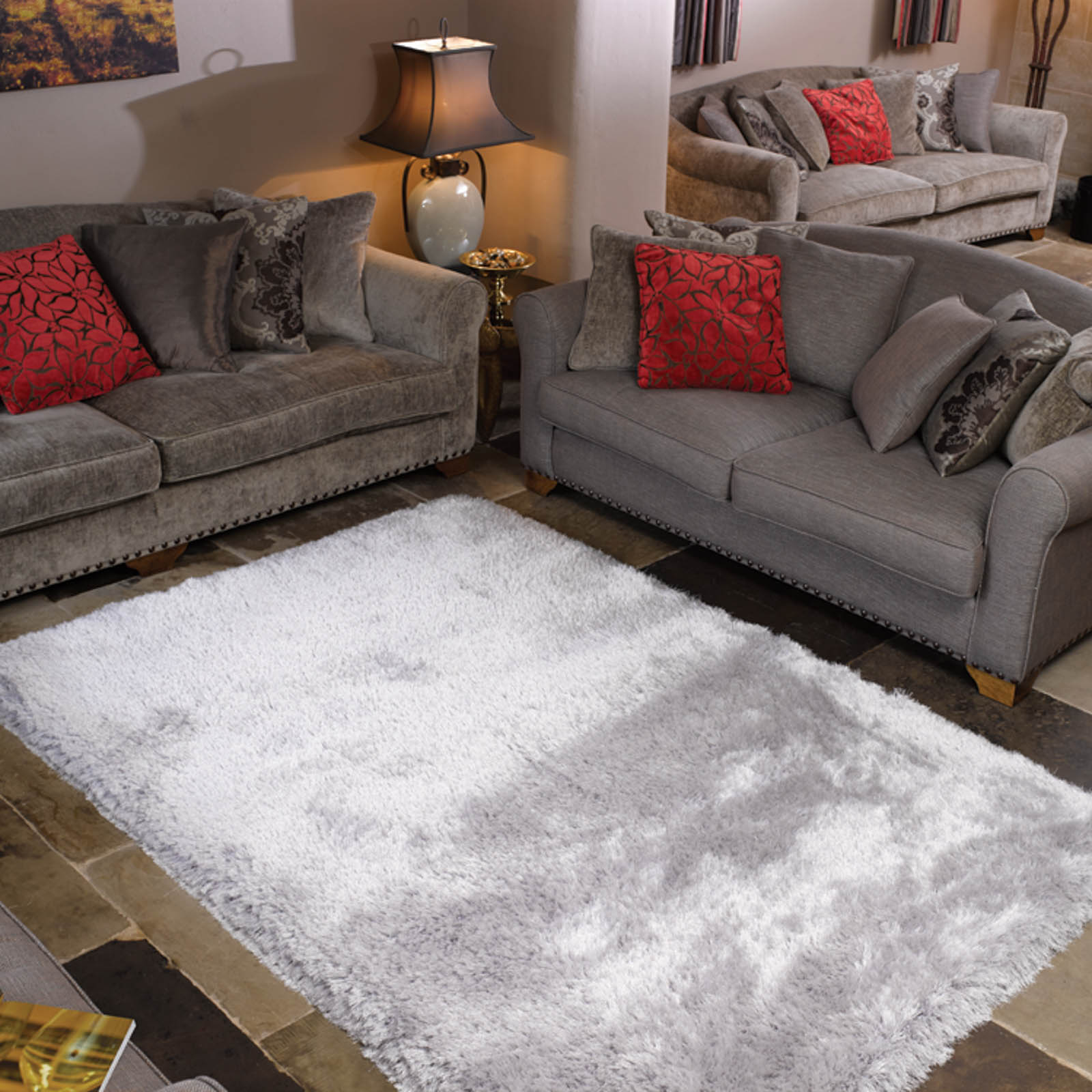 Pearl Shaggy Rugs In Silver