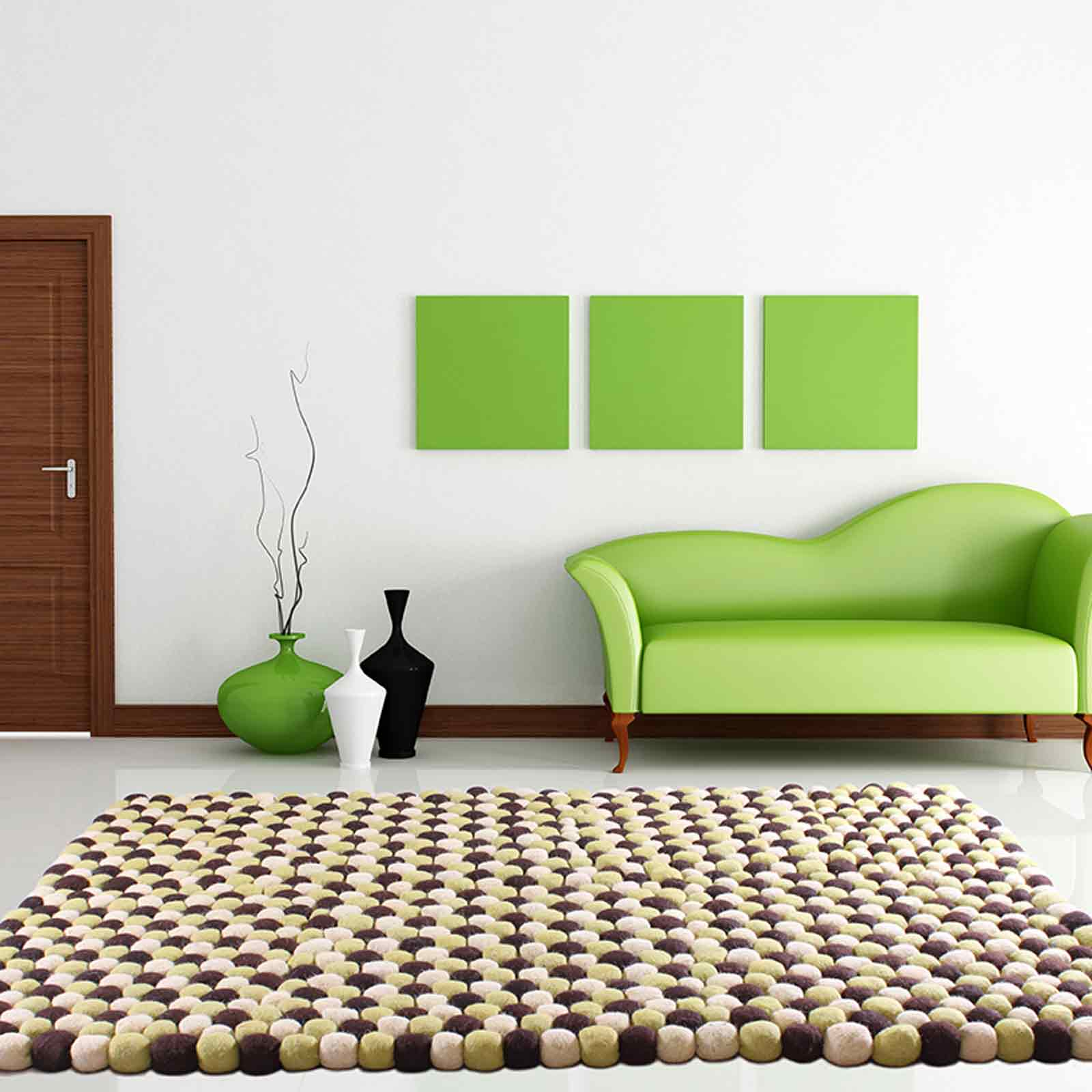 Pebble Rugs in Lime Green