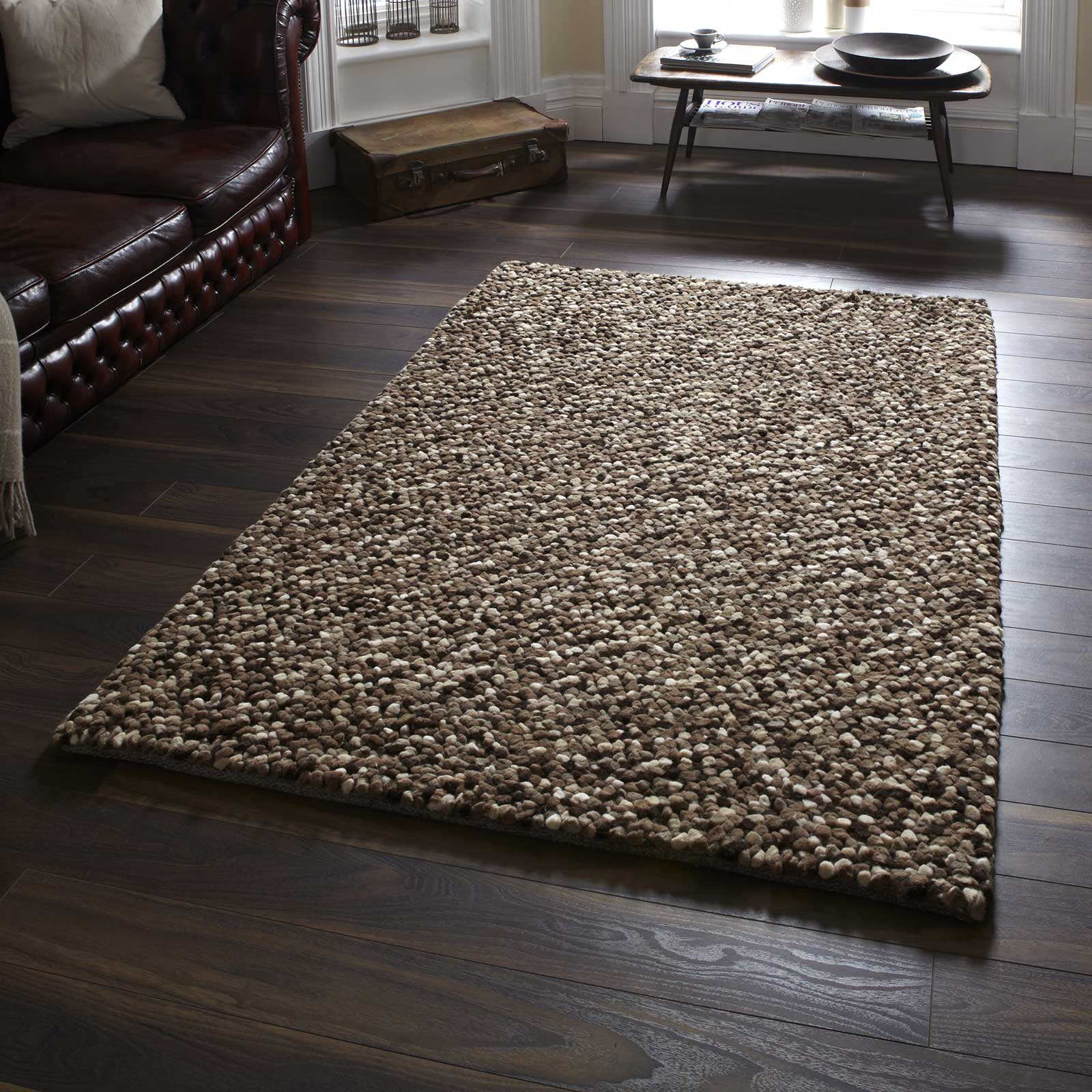 Pebbles Wool Shaggy Rugs In Beige