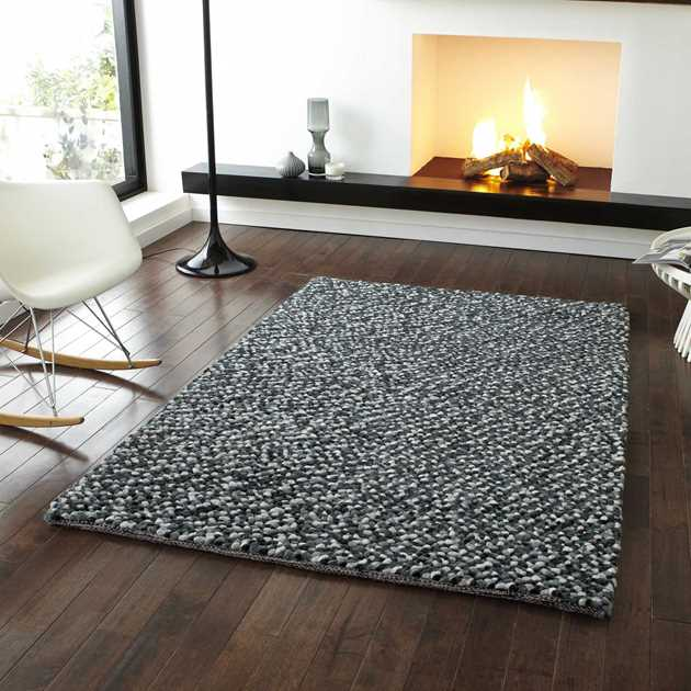 Pebbles Wool Shaggy Rugs in Grey