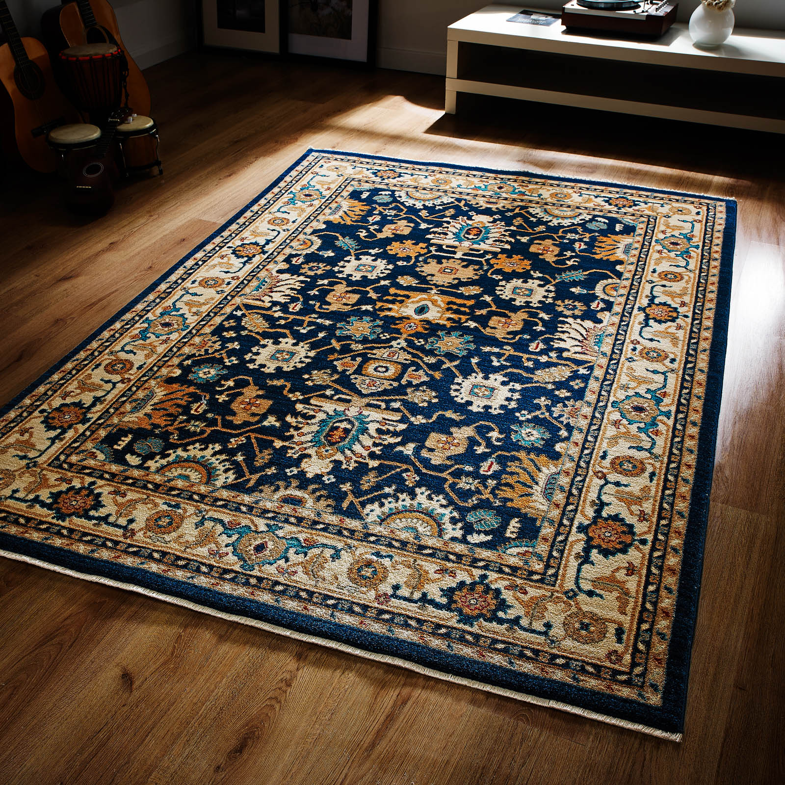 Persia Tabriz Rugs in Navy and Cream