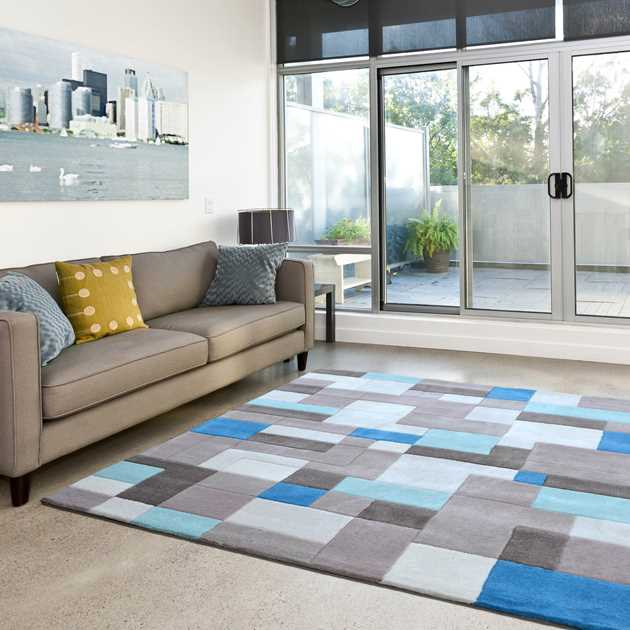 Picasso Geo Rugs 08 in Blue