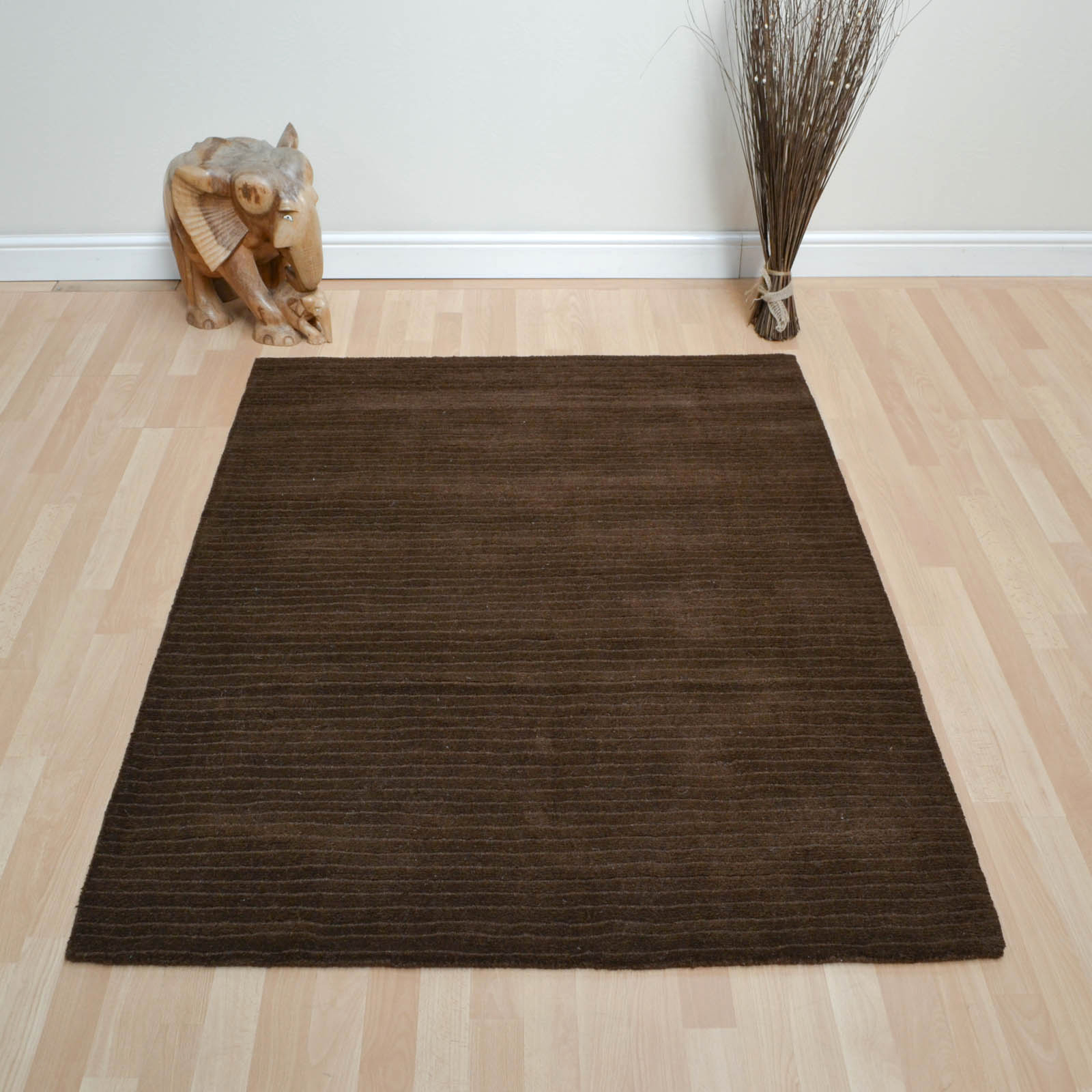 Pinstripe Rugs DT01 in Chocolate