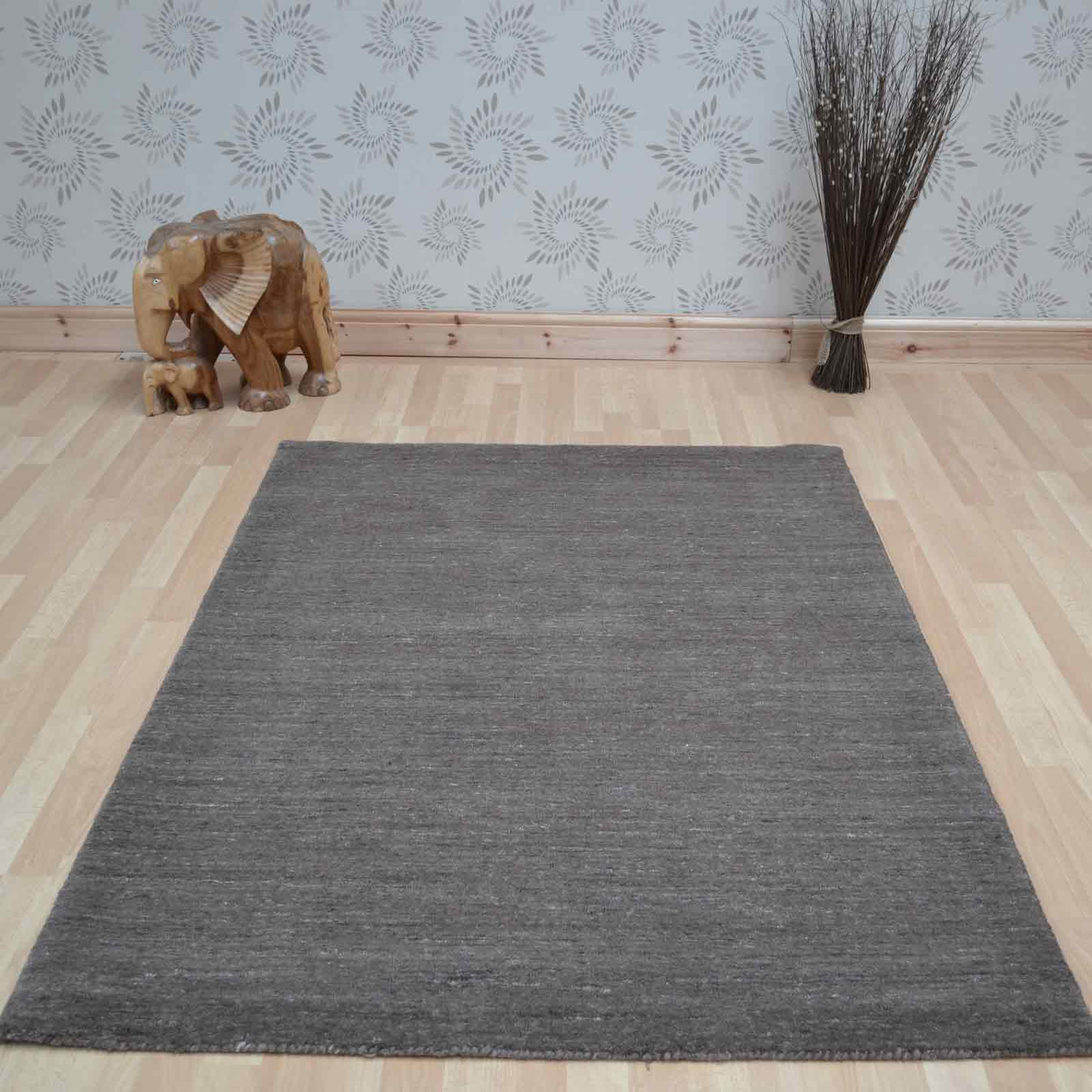 Plain Abrash Wool Rugs in Brown