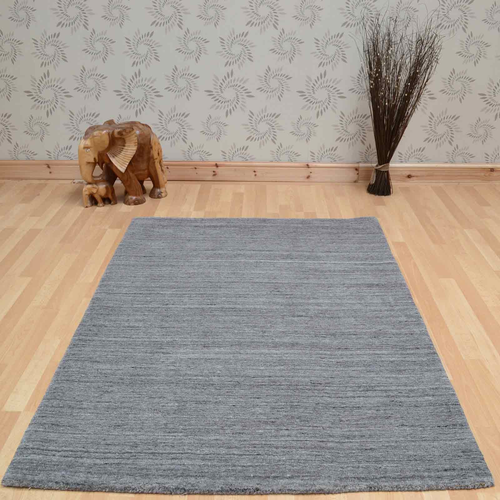 Plain Abrash Wool Rugs In Grey