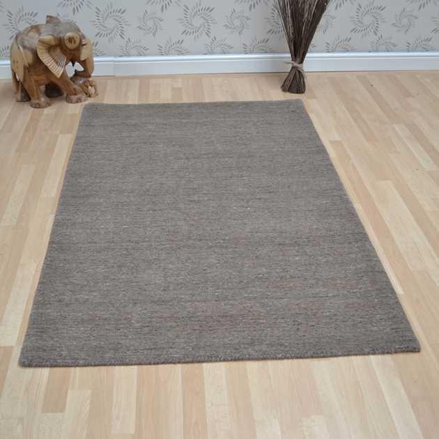 Plain Abrash Wool Rugs In Sand