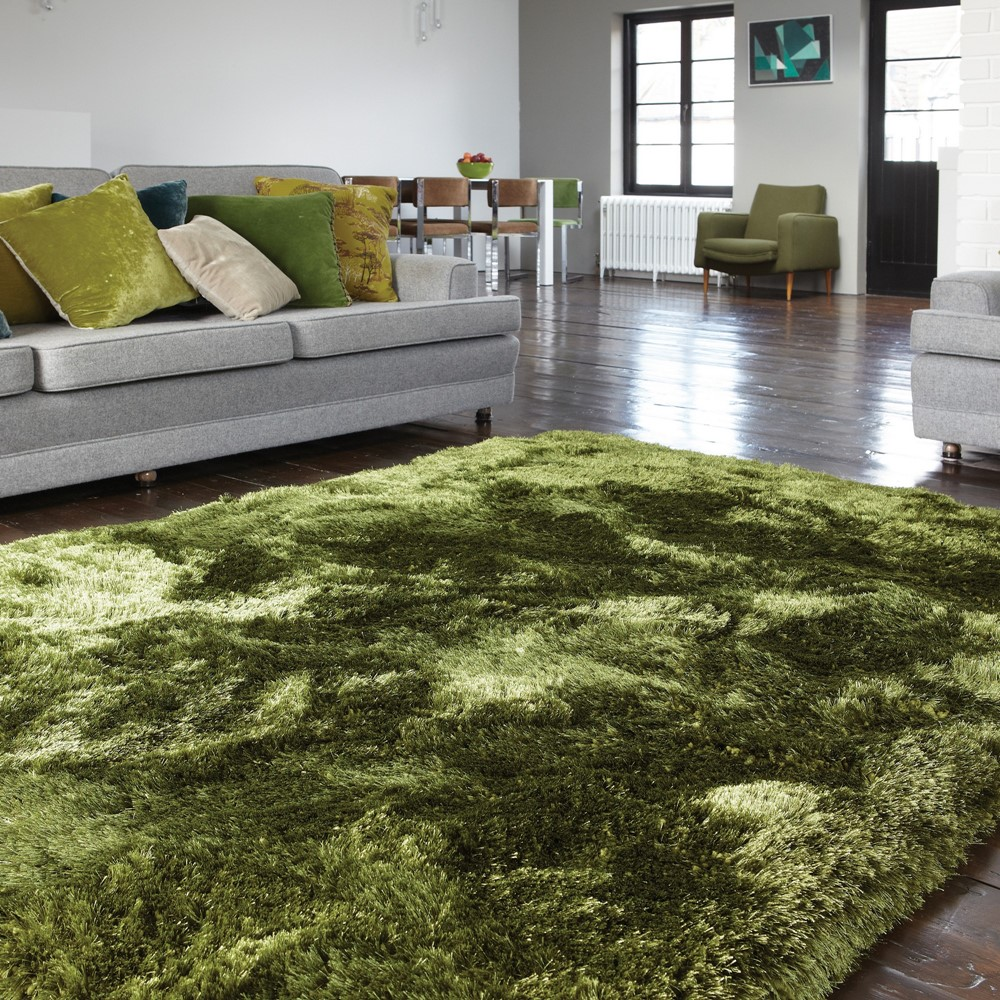 Plush Shaggy Rugs In Green Buy Online From The Rug Seller Uk