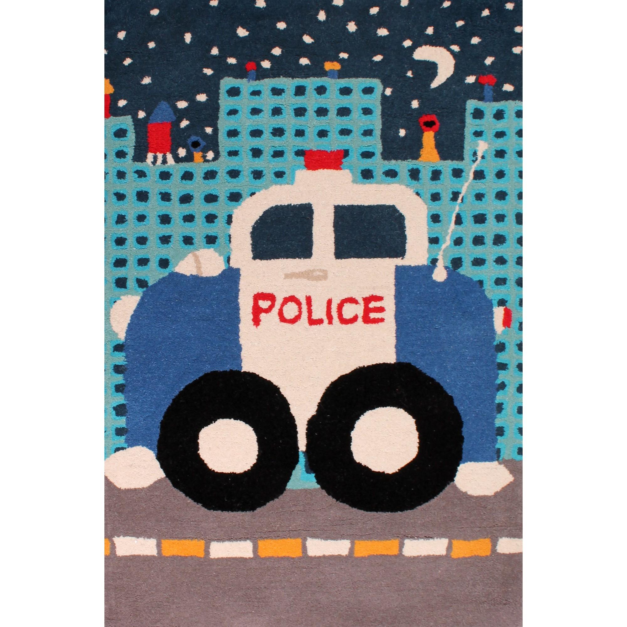 Kids Police Car Rugs In Blue