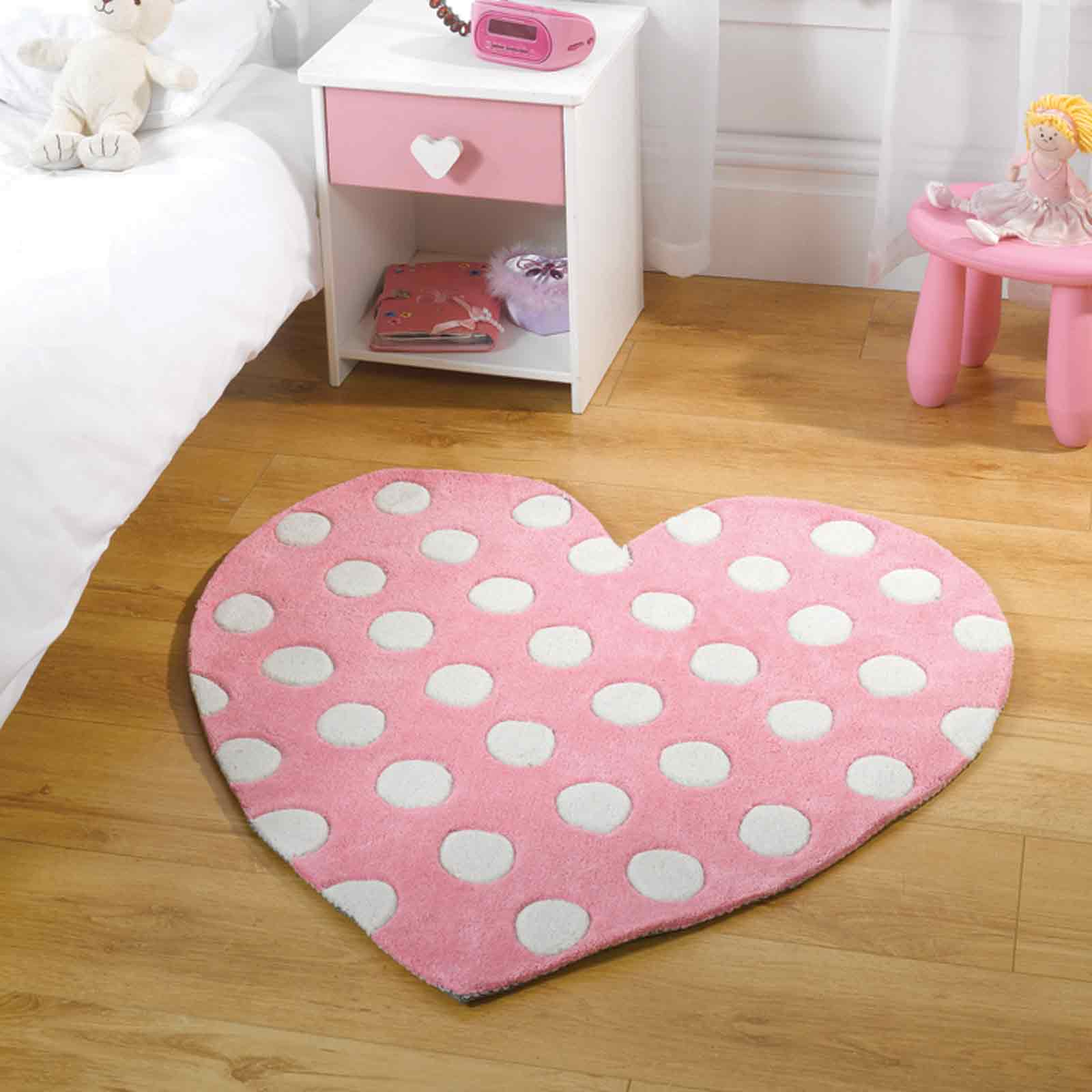 Play Polka Heart Rugs in Pink