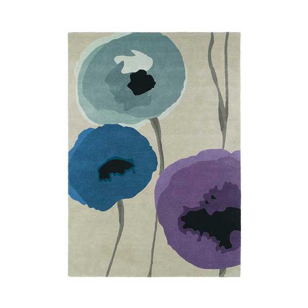 Sanderson Poppies Rugs 45705 Indigo/Purple