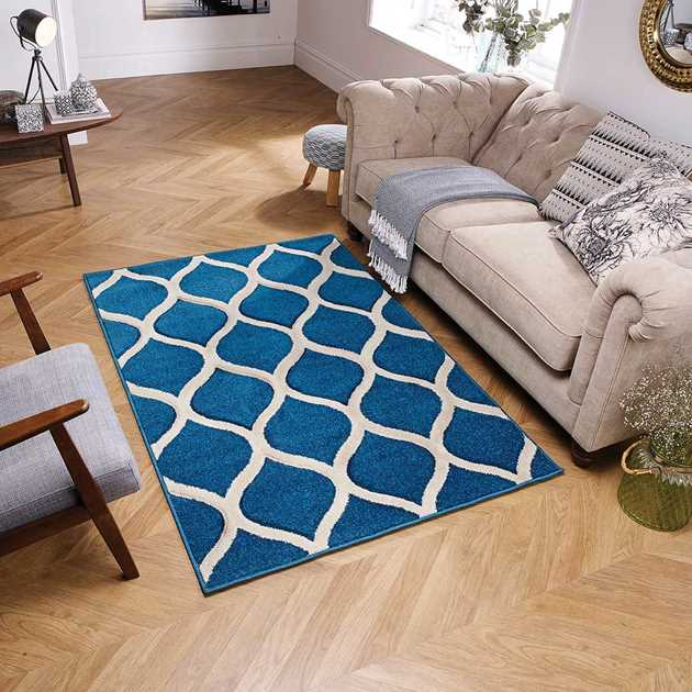 Portland Rugs 1095L in Blue and Ivory