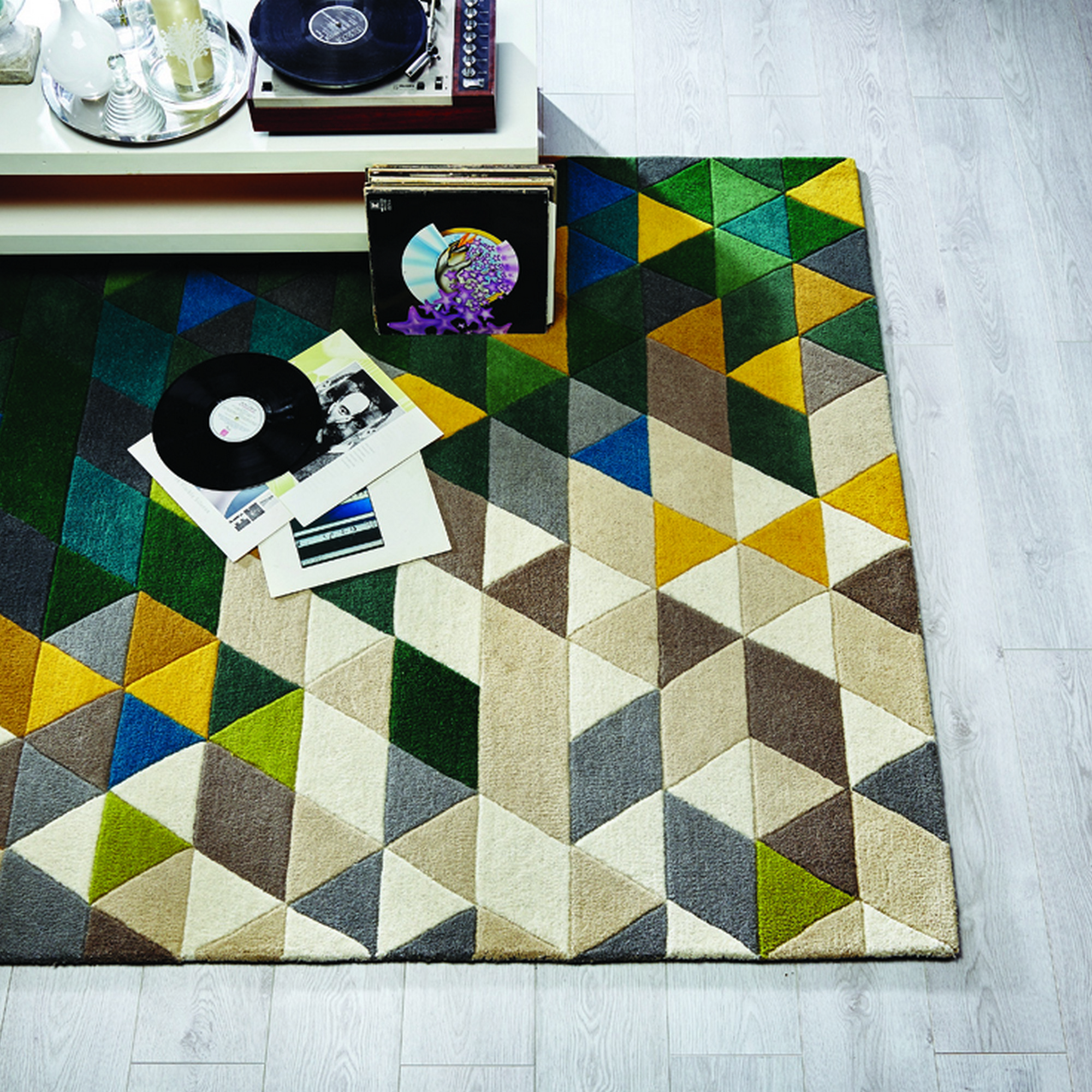 Illusion Prism Rugs in Green and Multicolours