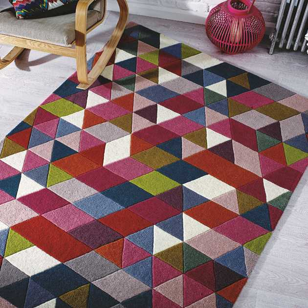 Illusion Prism Rugs in Pink and Multicolours