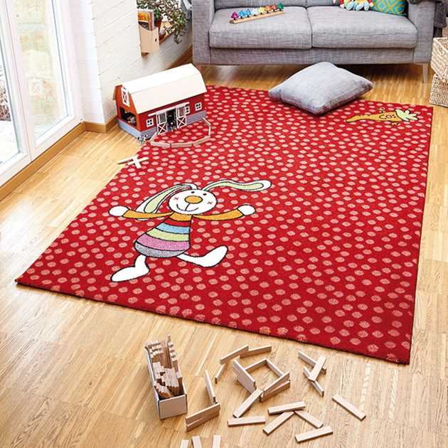 Rainbow Rabbit Rug in Red 0523 02