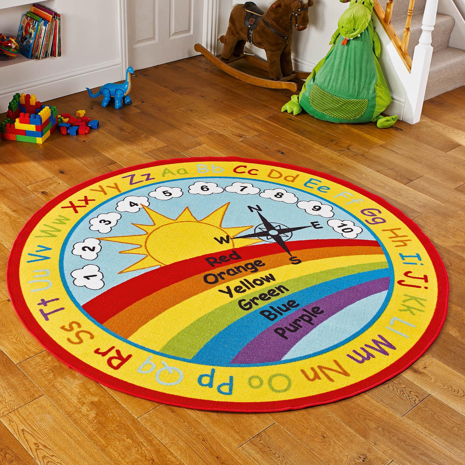 Kids Bedroom Rugs Uk rainbow wheel educational kids rug - free uk delivery - the rug seller