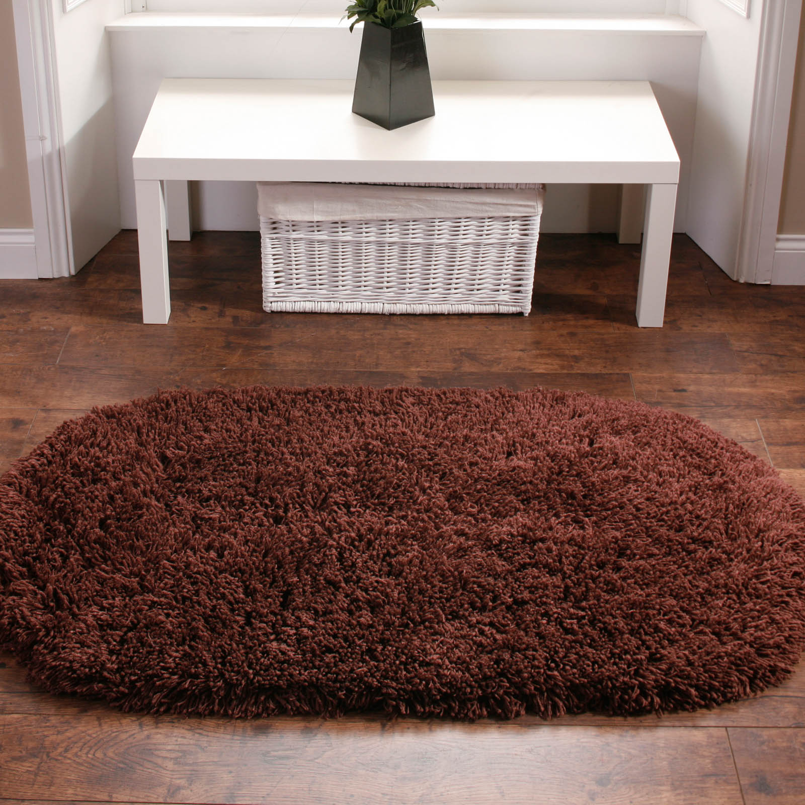 Rainbow Shaggy Washable Rugs in Chocolate Brown
