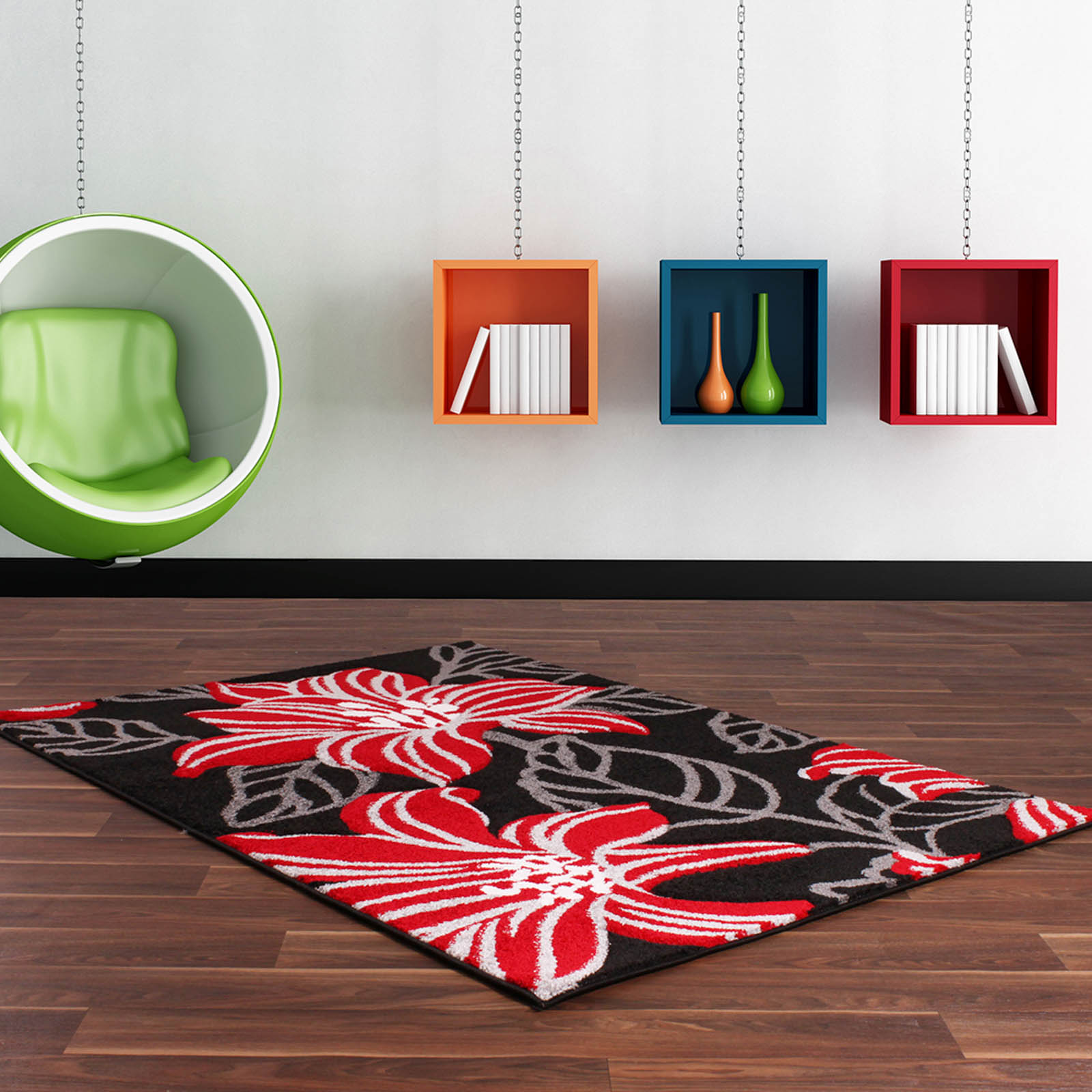 Rapello Botanic Rugs in Black and Red