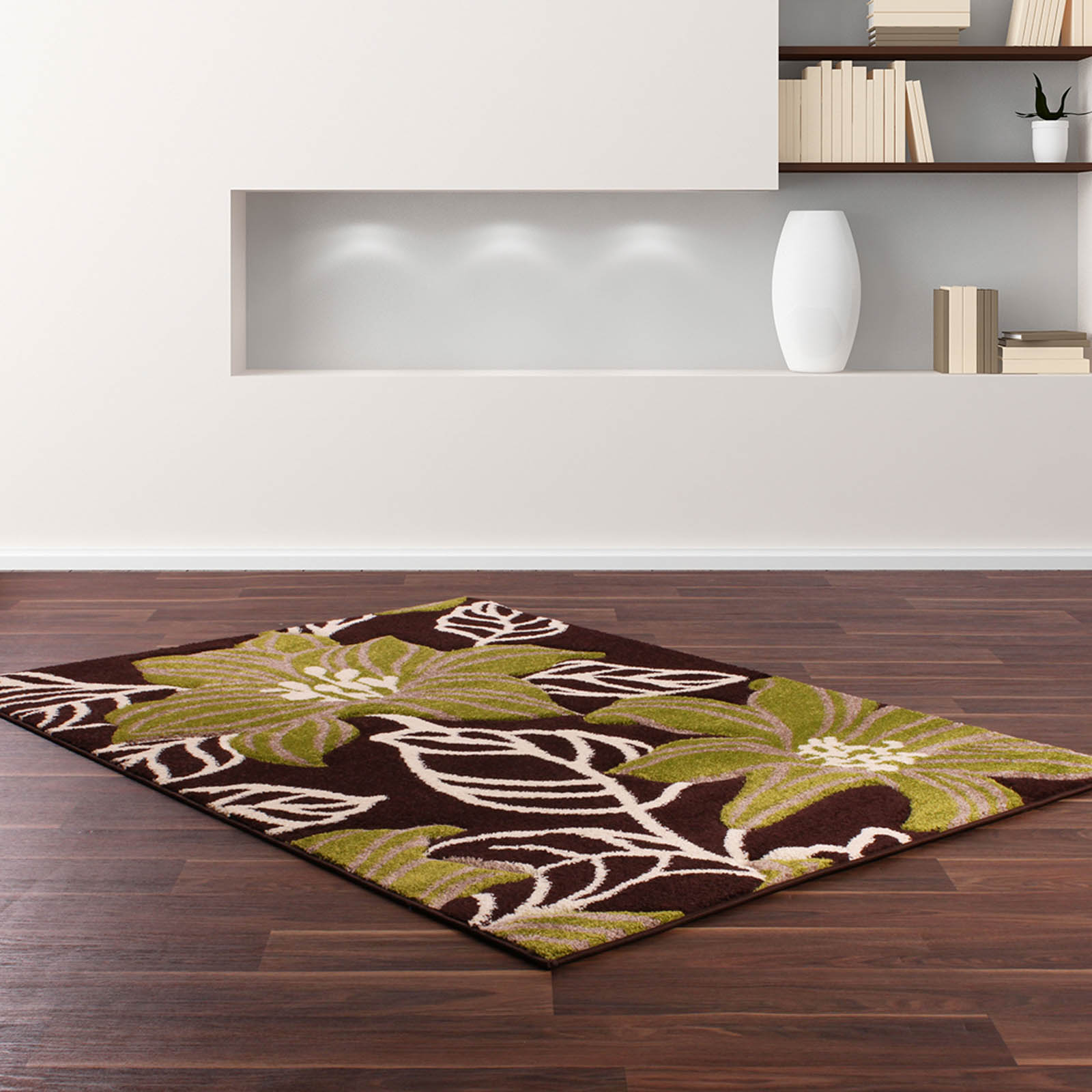 Rapello Botanic Rugs in Chocolate Brown and Green