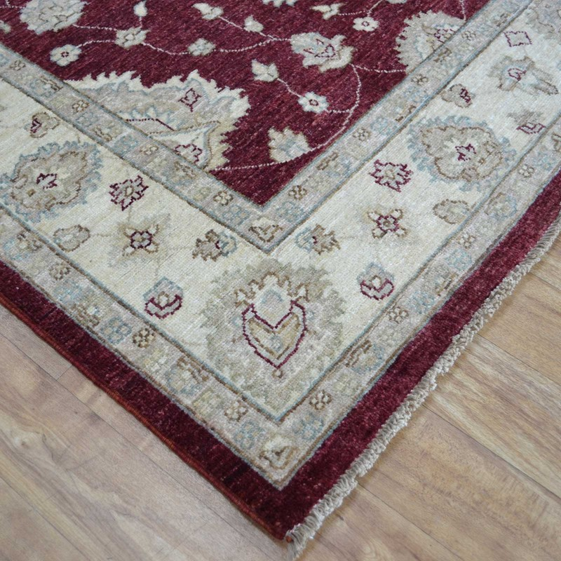 Razmak Ziegler Hand Knotted Wool Rug In Burgundy And Cream Buy Online From The Rug Seller Uk