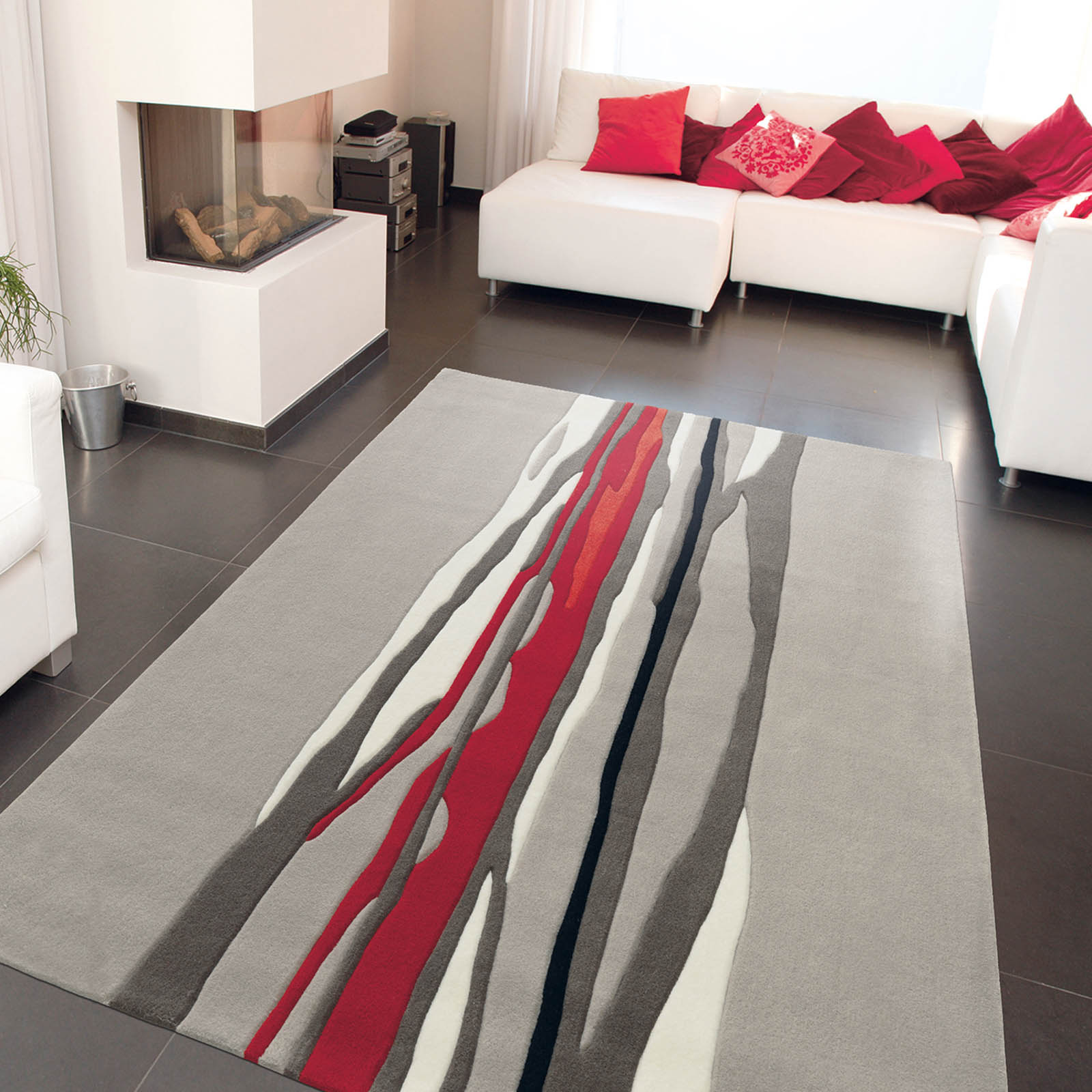 Red Trace Rugs 3088 65 in Grey