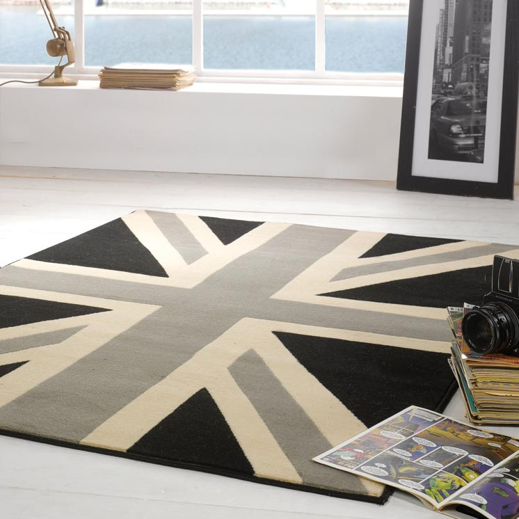 Buckingham Union Jack Rugs in Grey Black