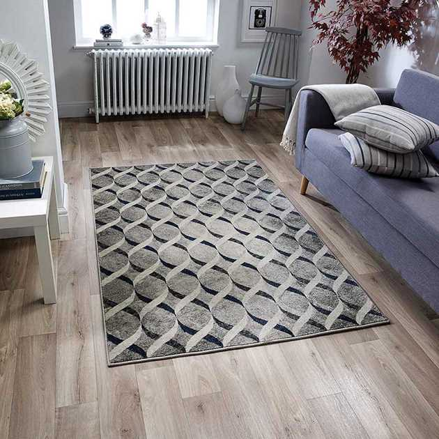 Richmond Rugs 102E in Grey and Blue