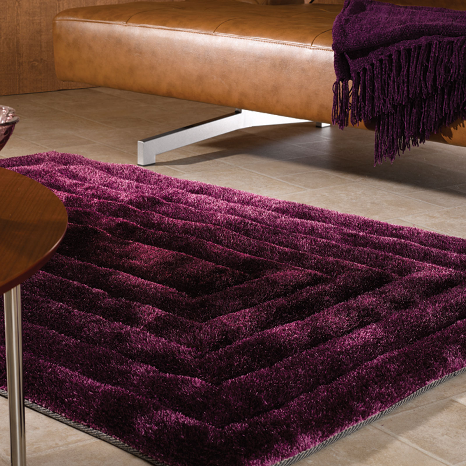 Verge Ridge Rugs in Aubergine