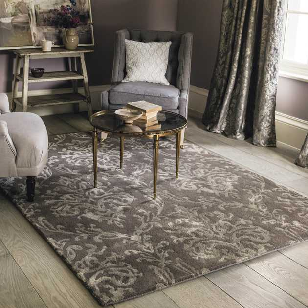 Riverside Damask Rugs 46700 in Mink by Sanderson