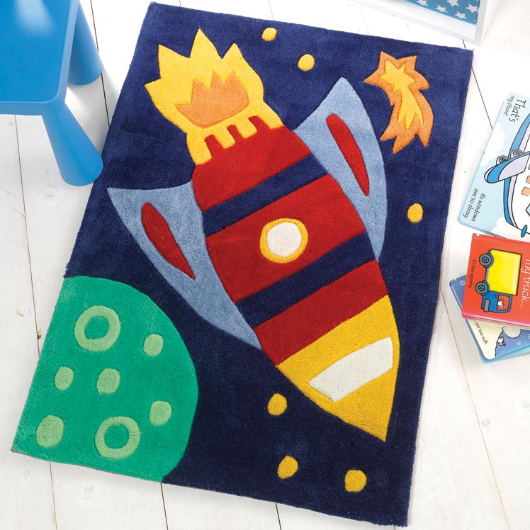 Kiddy Corner Rocket Rugs in Blue