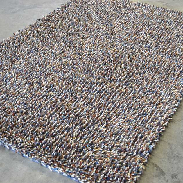 Brink and Campman Rocks Mix Shaggy Wool Rugs 70405 Oyster