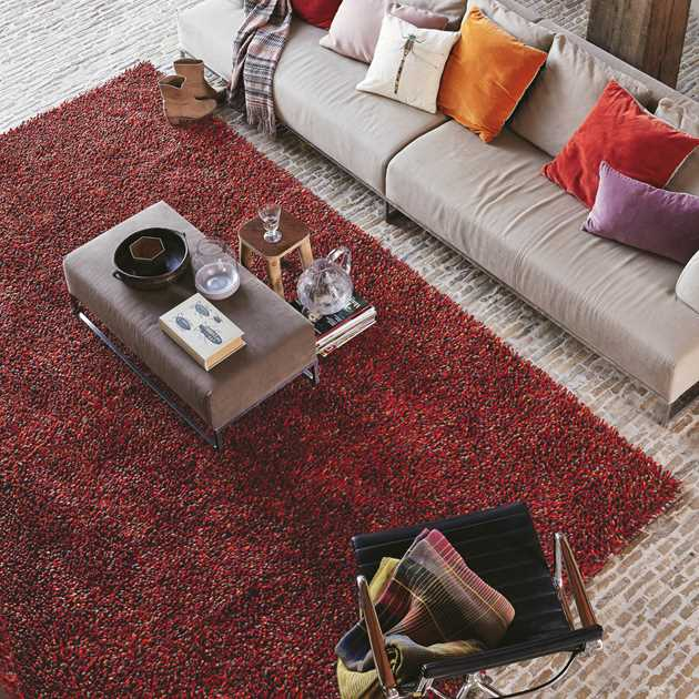 Brink and Campman Rocks Shaggy Wool Rugs 70503 Red