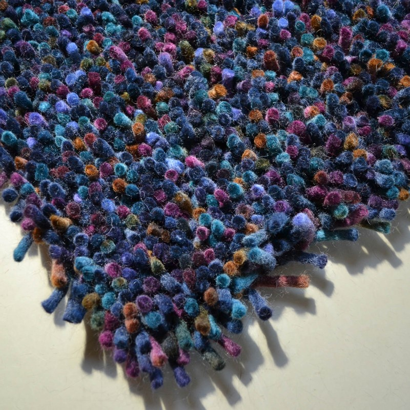 2cb485e9068 Brink and Campman Rocks Shaggy Wool Rugs 70508 in Blue and Multi-colours