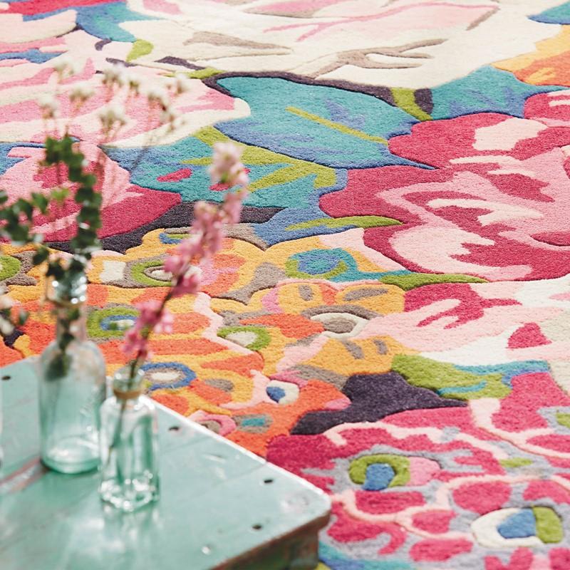 Rose & Peony Rugs 45005 In Cerise Pink By Sanderson Buy
