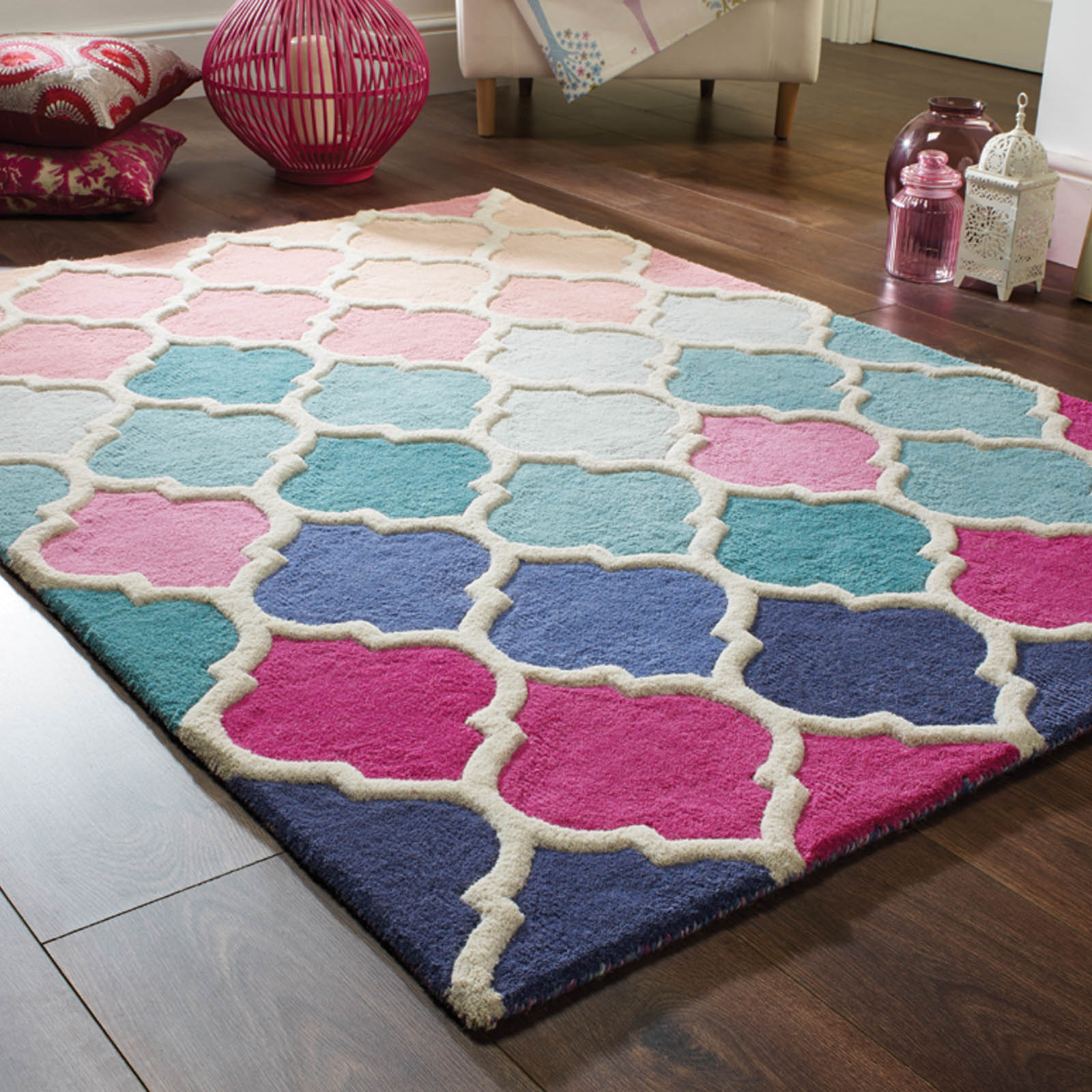 Illusion Rosella Rugs in Pink and Blue