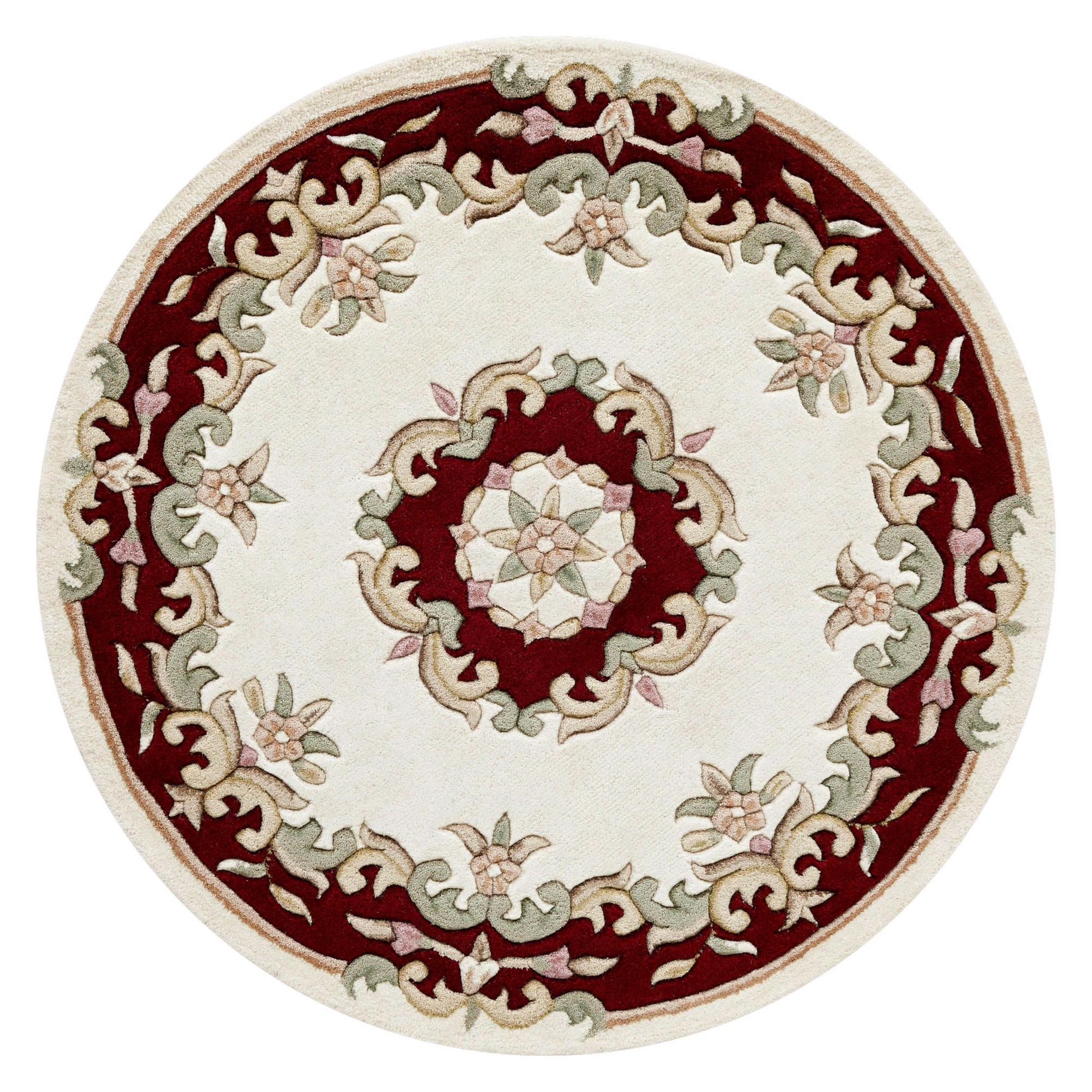 Royal Aubusson Circular Rugs in Cream Red