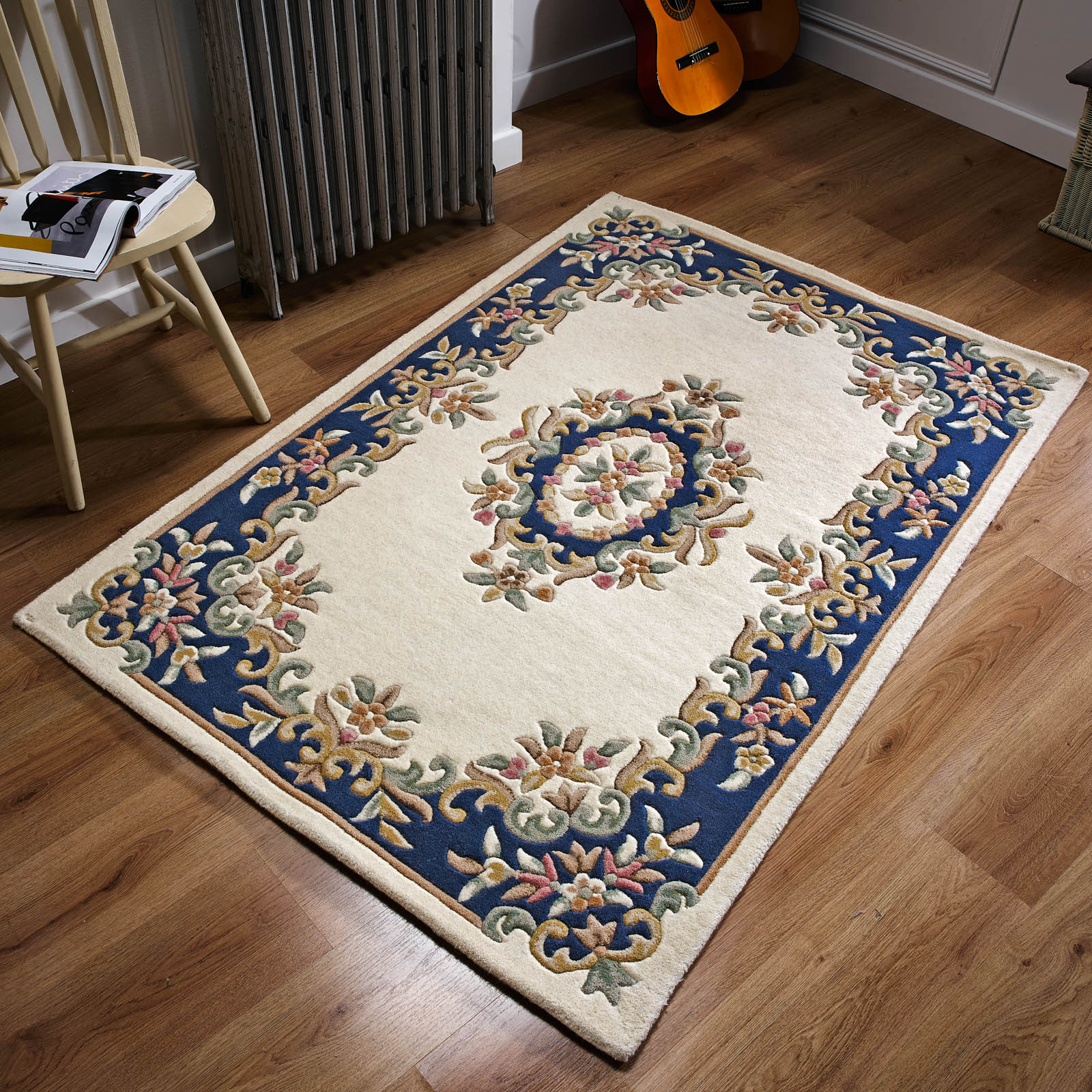 Royal Aubusson Wool rugs in Cream Blue