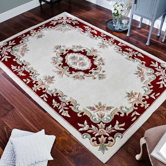 Royal aubusson wool rugs in cream red free uk delivery for Cream and red rugs