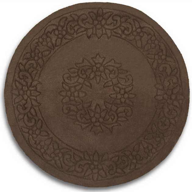 Royale Circular Rugs - Traditional Indian Wool in Chocolate