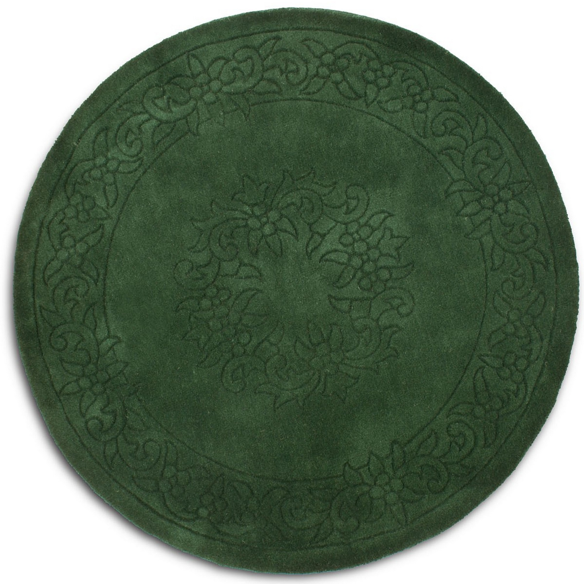 Royale Circular Rugs - Traditional Indian Wool in Dark Green