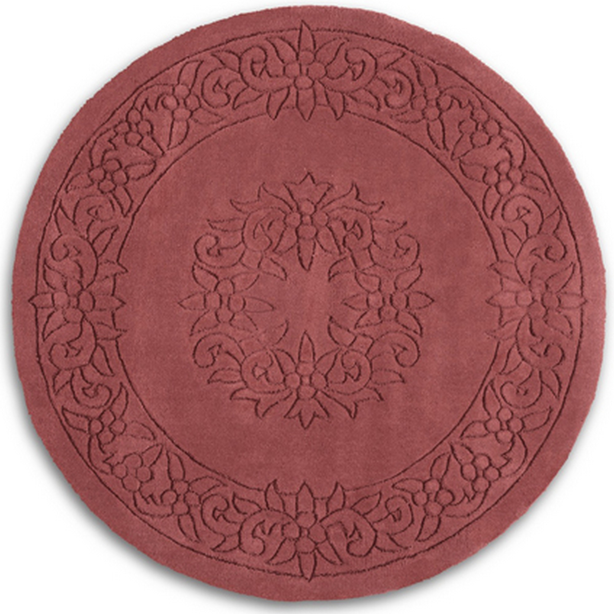Royale Circular Rugs - Traditional Indian Wool in Rose